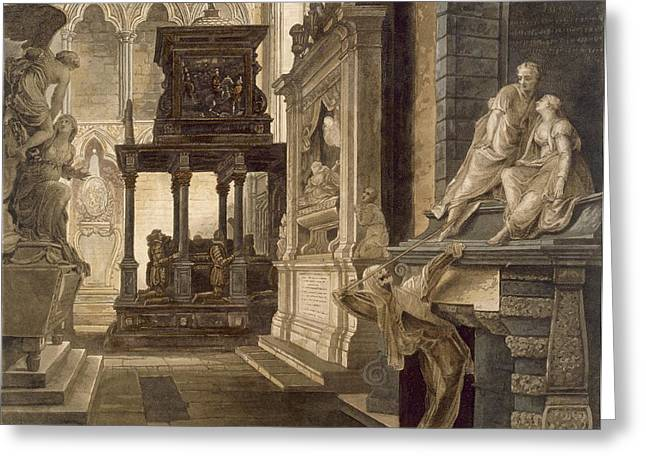 Tomb Drawings Greeting Cards - Chapel Of St. John The Evangelist Greeting Card by Frederick Mackenzie