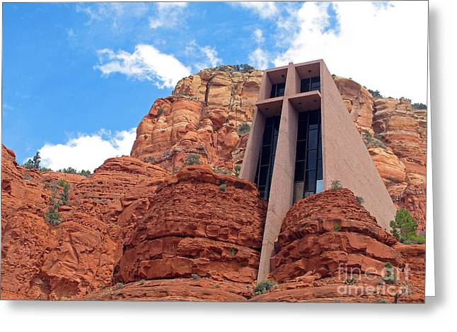 Symbol Of Wisdom Greeting Cards - Chapel of the Holy Cross Greeting Card by Kelly Holm