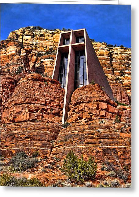 Foilage Greeting Cards - Chapel of the Holy Cross  Sedona Arizona Greeting Card by Jon Berghoff