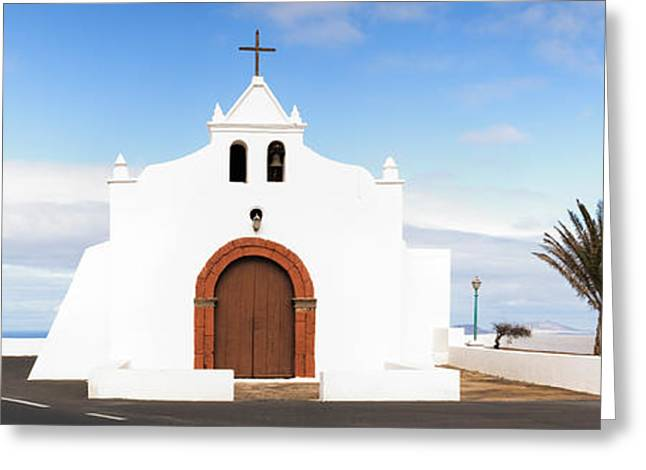 Chapel On A Hill, Tiagua, Lanzarote Greeting Card by Panoramic Images