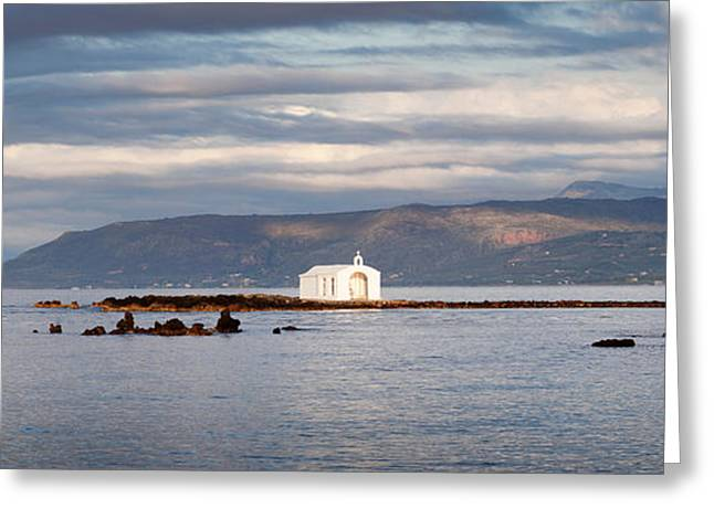 Crete Greeting Cards - Chapel On A Rock In The Sea Greeting Card by Panoramic Images