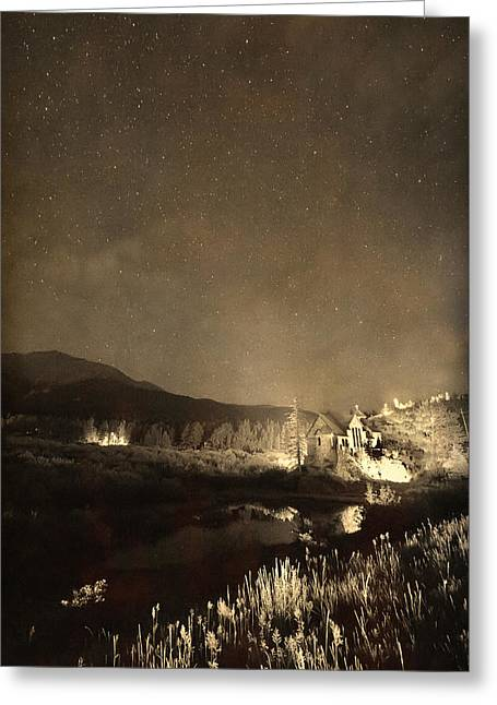 Chapel On The Rock Photographs Greeting Cards - Chapel On the Rock Stary Night Portrait Monotone Greeting Card by James BO  Insogna