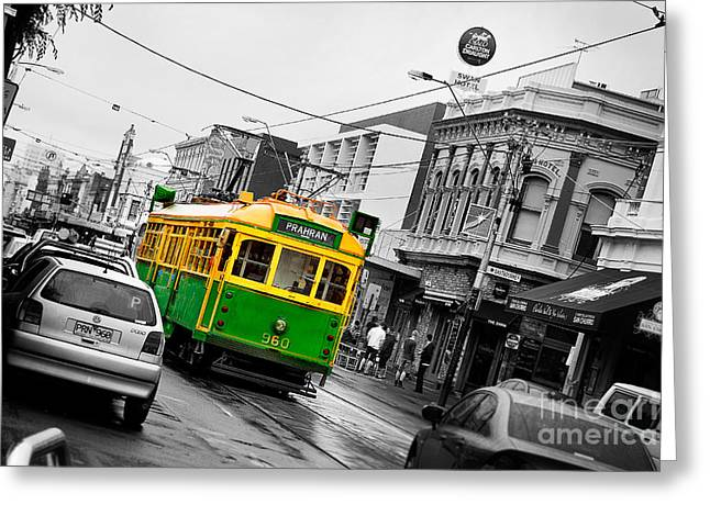 Grey Fine Art Greeting Cards - Chapel St Tram Greeting Card by Az Jackson