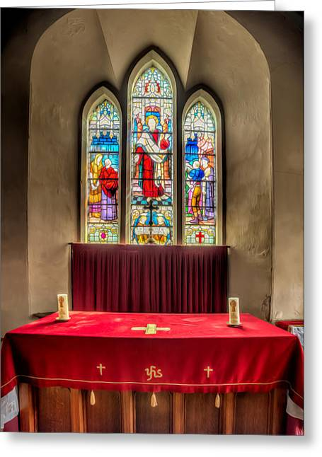 Religious Digital Art Greeting Cards - Chapel Window Greeting Card by Adrian Evans
