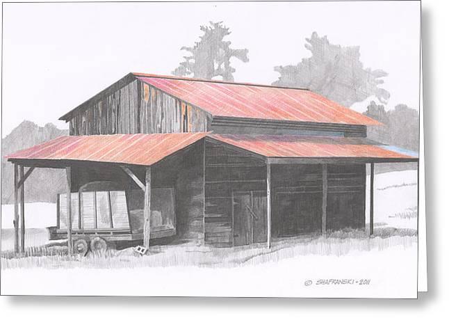 Tin Roof Drawings Greeting Cards - Chapin Barn Greeting Card by Paul Shafranski