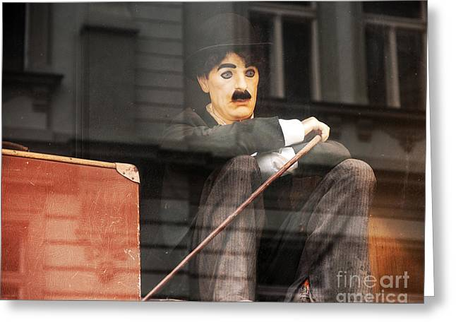 Chaplin Poster Greeting Cards - Chaplin in Prague Greeting Card by John Rizzuto