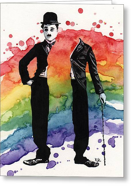 Pierrot Greeting Cards - Chaplin Greeting Card by Kelly Jade King