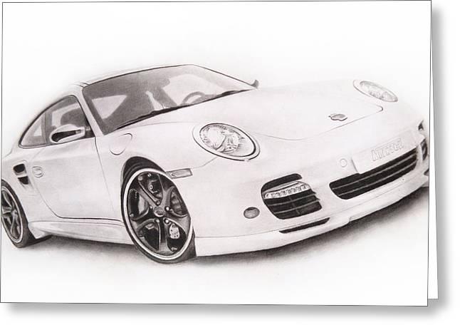 Headlight Drawings Greeting Cards - Char-Car Greeting Card by Atinder Paul Singh