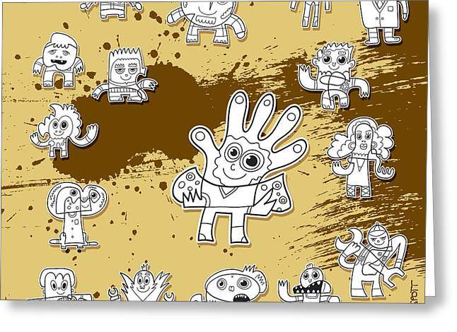 Doodle Greeting Cards - Character Doodles Urban Grunge Greeting Card by Frank Ramspott