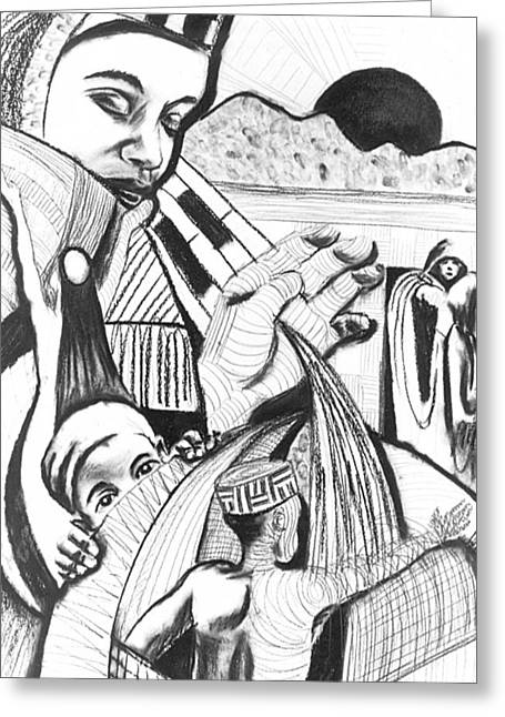 African-american Drawings Greeting Cards - Charcoal 3 Greeting Card by Michael J McBride