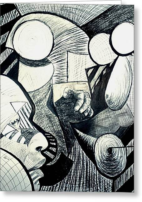 African-american Drawings Greeting Cards - Charcoal 4 Greeting Card by Michael J McBride