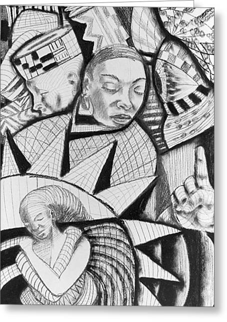 African-americans Greeting Cards - Charcoal 9 Greeting Card by Michael J McBride