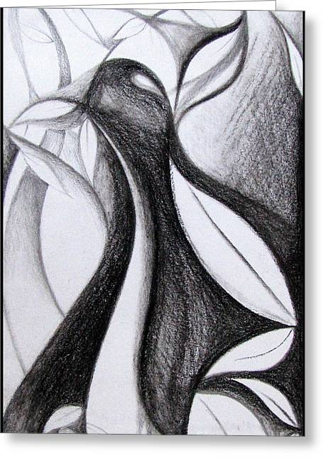 Artistic Photography Drawings Greeting Cards - Charcoal art abstract Greeting Card by Prajakta P