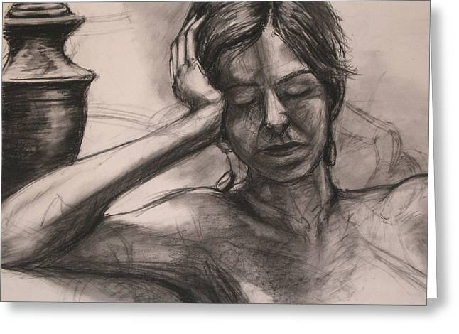 Mark Making Drawings Greeting Cards - Charcoal Figure Study Greeting Card by Rebekah Reed