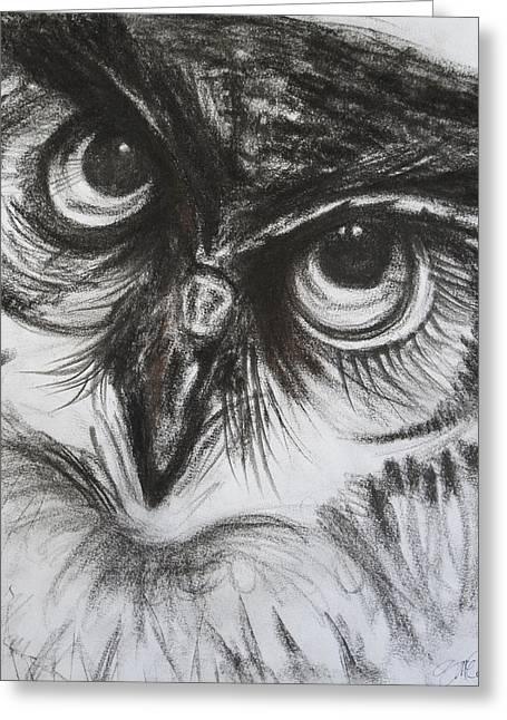 Barnyard Owl Greeting Cards - Charcoal Owl  Greeting Card by Naomi McQuade