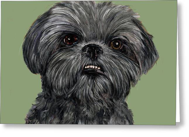 Shih-tzu Greeting Cards - Charcoal Shih Tzu  Greeting Card by Dale Moses