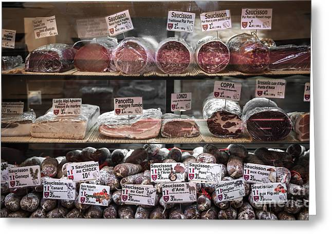 Delis Greeting Cards - Charcuterie on display in butcher shop in old Nice Greeting Card by Elena Elisseeva