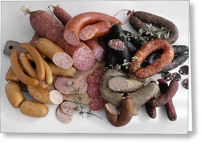Red Meat Greeting Cards - Charcuterie sausages Greeting Card by Science Photo Library