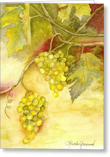 Bunch Of Grapes Greeting Cards - Chardonnay Grapes Greeting Card by Rosalea Greenwood