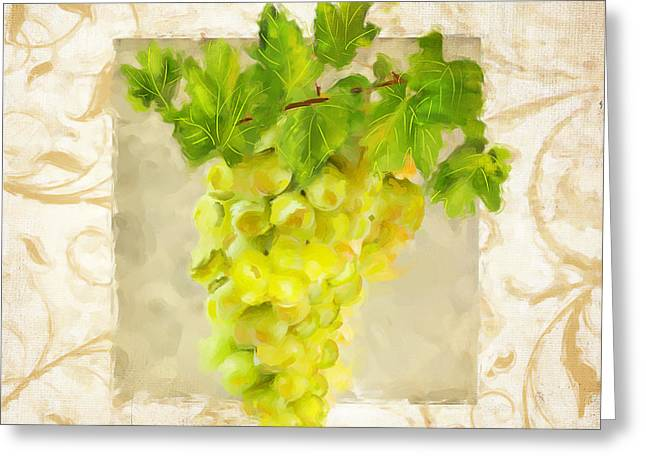 Bread And Wine Art Greeting Cards - Chardonnay II Greeting Card by Lourry Legarde