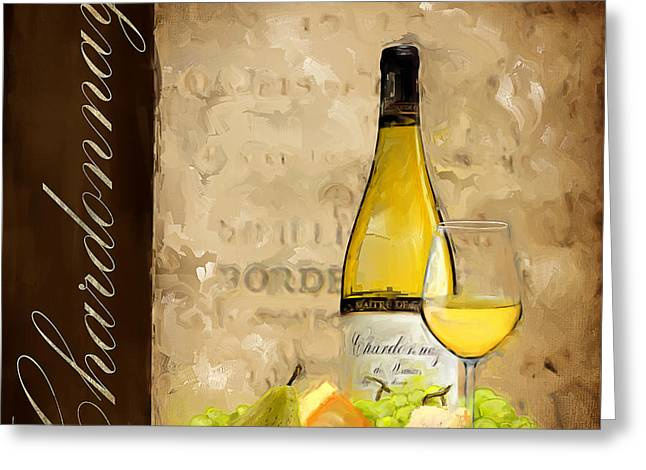 Bread And Wine Art Greeting Cards - Chardonnay III Greeting Card by Lourry Legarde