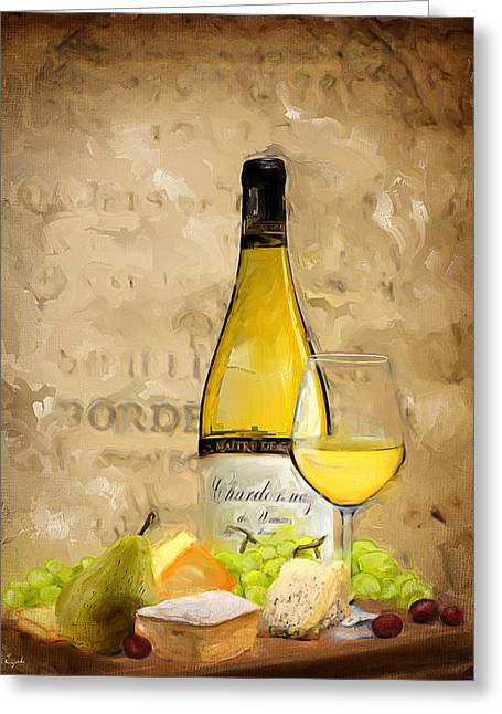 Purple Grapes Paintings Greeting Cards - Chardonnay IV Greeting Card by Lourry Legarde
