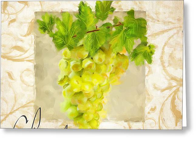 Purple Grapes Paintings Greeting Cards - Chardonnay Greeting Card by Lourry Legarde