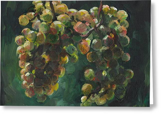 Clusters Of Grapes Paintings Greeting Cards - Chardonnay Greeting Card by Susan Moore
