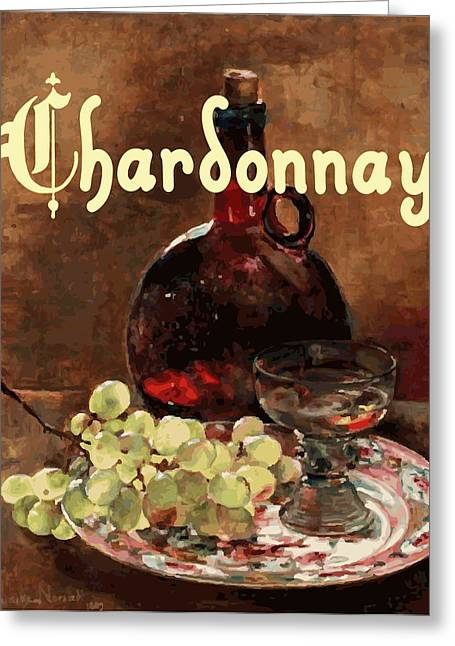 Wine Grapes Digital Art Greeting Cards - Chardonnay Vintage Advertisement Greeting Card by