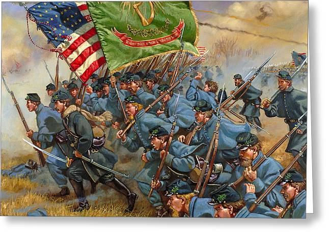 Brigade Greeting Cards - Charge of the Irish Brigade Greeting Card by Mark Maritato