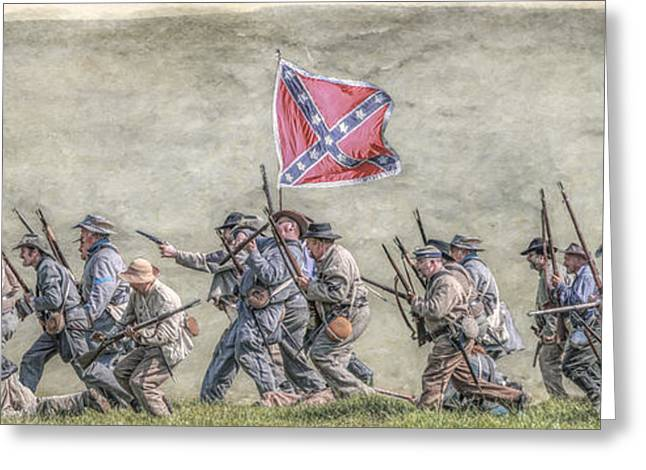 Civil Greeting Cards - Charge of the Virginia Regiment at Gettysburg Greeting Card by Randy Steele