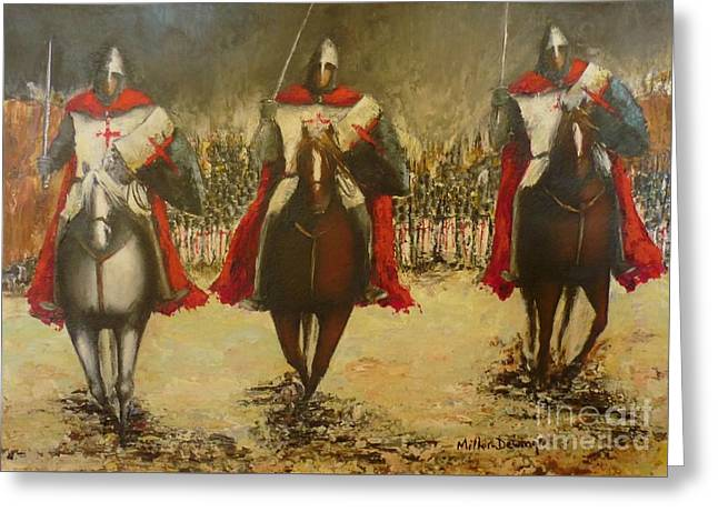 Medieval Temple Paintings Greeting Cards - Charge to Battle Greeting Card by Kaye Miller-Dewing
