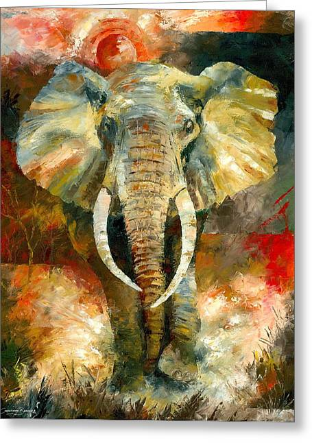 Knife Greeting Cards - Charging African Elephant Greeting Card by Christiaan Bekker
