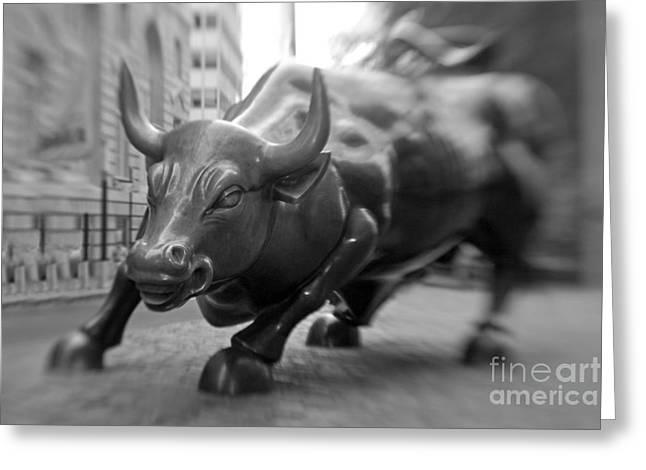Charging Bull 1 Greeting Card by Tony Cordoza
