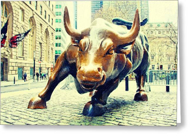 Wall Street Greeting Cards - Charging Bull 2 Greeting Card by Nishanth Gopinathan