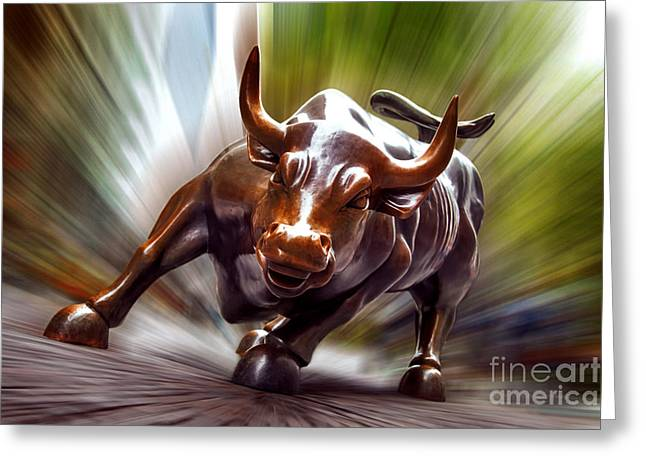 Cobblestone Greeting Cards - Charging Bull Greeting Card by Az Jackson