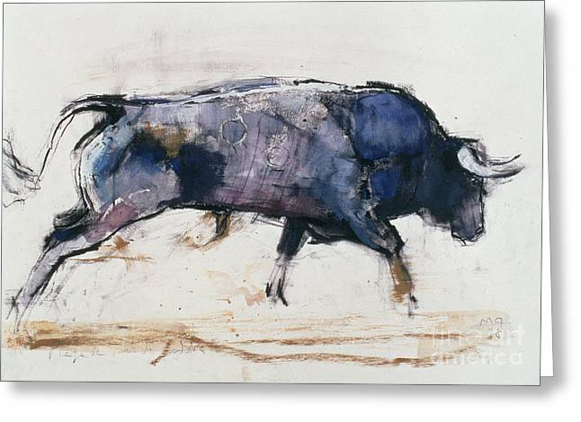 Wildlife Art Posters Greeting Cards - Charging Bull Greeting Card by Mark Adlington