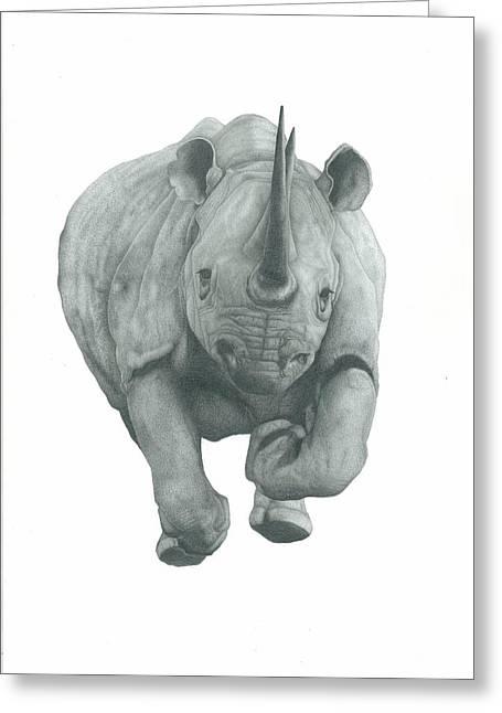 Rhinocerus Drawings Greeting Cards - Charging Rhino Greeting Card by Rich Colvin