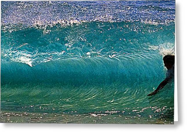 Shorebreak Greeting Cards - Charging Through The Water Tunnel Greeting Card by Ron Regalado