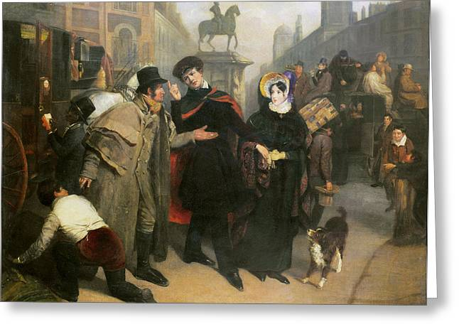 Stagecoach Greeting Cards - Charing Cross, 1832 Oil On Canvas Greeting Card by James Holmes