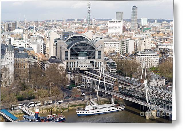 Charing Cross Bridge Greeting Cards - Charing Cross Station and Hungerford Bridge I Greeting Card by Clarence Holmes