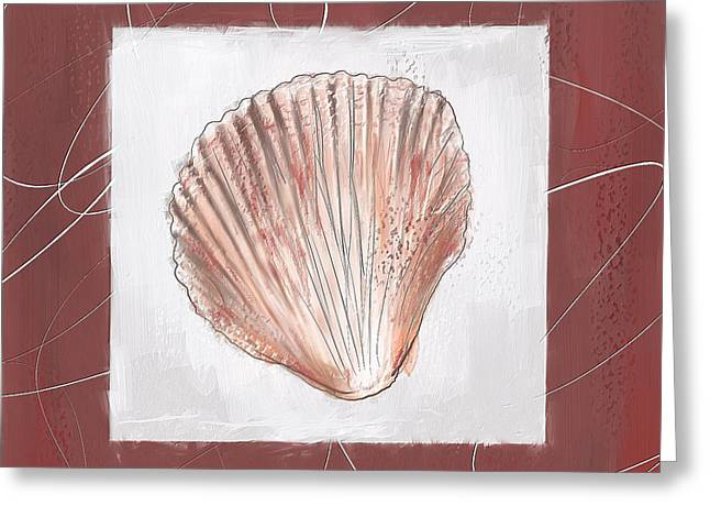 Beach Decor Paintings Greeting Cards - Charismatic Caribbean- Marsala Pantone 18-1438 Greeting Card by Lourry Legarde