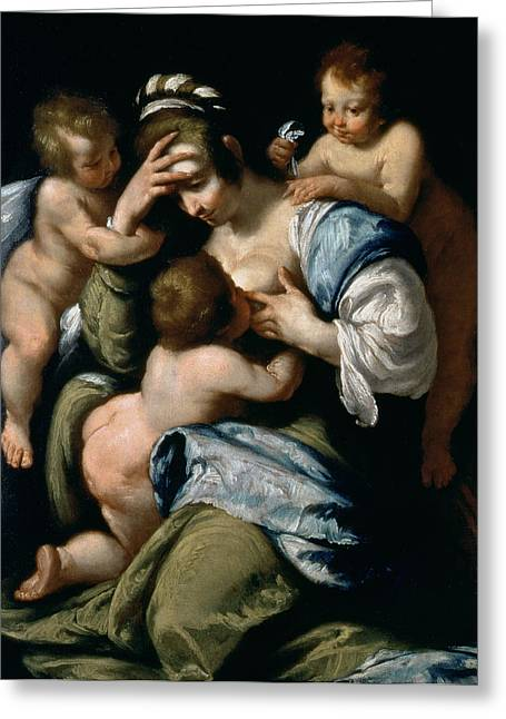 Charity Paintings Greeting Cards - Charity Greeting Card by Bernardo Strozzi