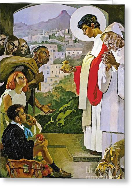 Laurence Greeting Cards - Charity of Saint Laurence Greeting Card by Pg Reproductions