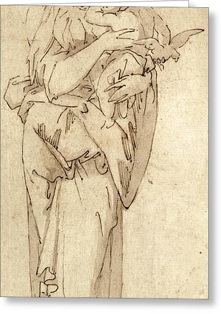 Virgin Mary Drawings Greeting Cards - Charity or the Virgin and Child Greeting Card by Geoffroy Dumonstier