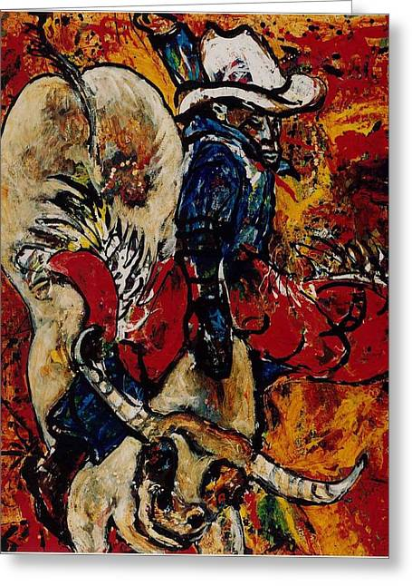Cave Creek Cowboy Greeting Cards - Charlemagne the Bull Greeting Card by Elaine Elliott
