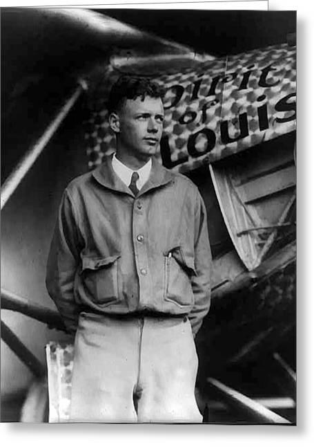 Lindy Greeting Cards - Charles A Lindbergh Spirit of St. Louis  Greeting Card by Unknown