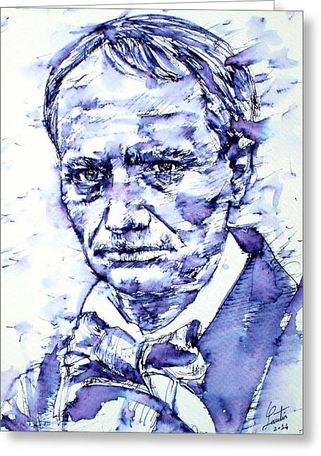 Charles Baudelaire Greeting Cards - CHARLES BAUDELAIRE portrait Greeting Card by Fabrizio Cassetta