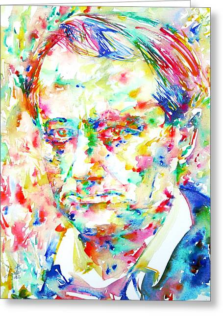 Charles Baudelaire Greeting Cards - Charles Baudelaire Watercolor Portrait.1 Greeting Card by Fabrizio Cassetta