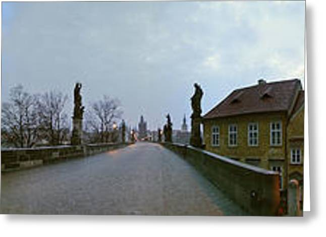 Historic Statue Greeting Cards - Charles Bridge 360 Greeting Card by Gary Lobdell